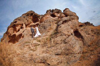 rock climbing bride and groom