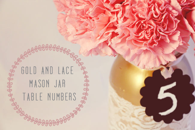 gold painted lace wrapped mason jar DIY