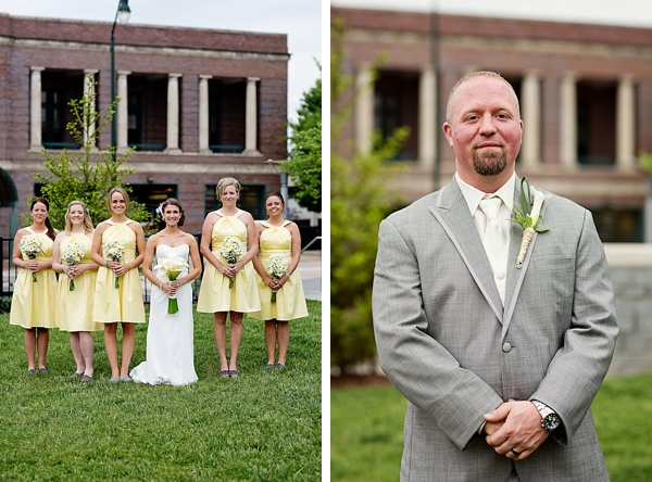 bridal party in yellow and gray in front of Pack Tavern Venue  Western North Carolina