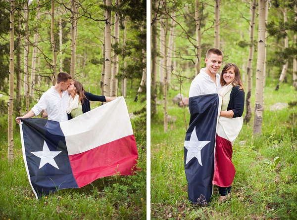 aspen engagement couple wrapped in Texas Flag