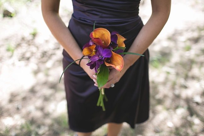 orange and purple bouquets for a Yosemite Wedding
