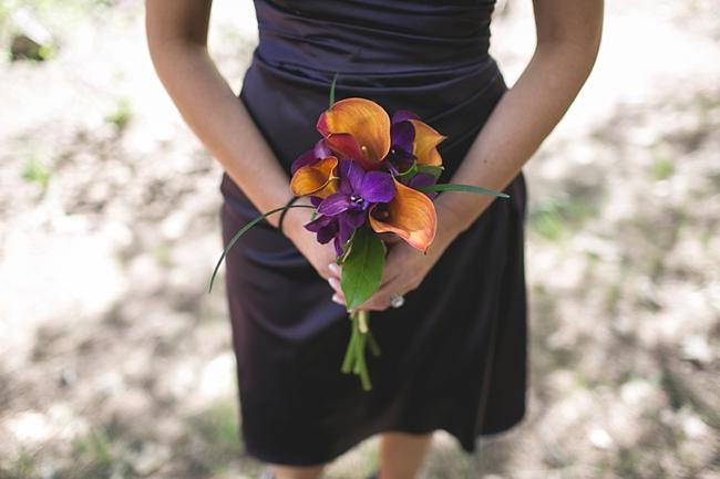 orange and purple bouquets for a Yosemite Wedding