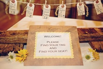 burlap welcome sign and rustic escort cards