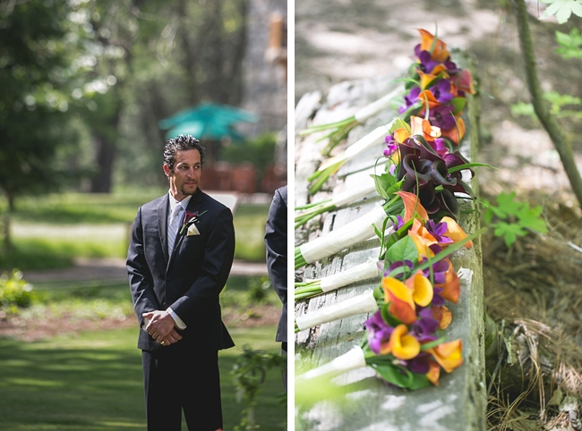 groom waits for bride in Yosemite wedding ceremony