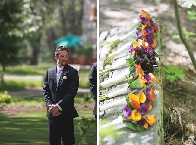 groom waits for bride in Yosemite wedding ceremony