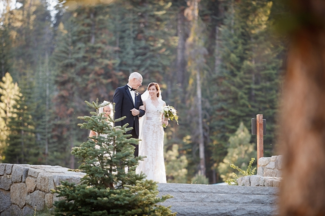father walking bride down the aisle sequoia national park wedding