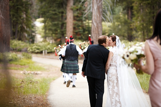 bride and groom walking down the aisle sequoia national park wedding