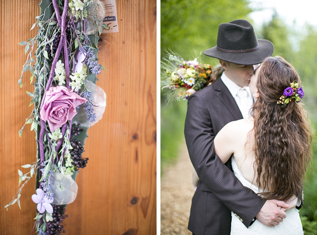 rose and lavender flowers and bride and groom kiss