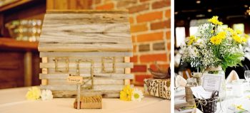 handmade rustic miniature cabin and yellow and white daisy centerpieces