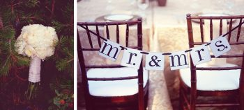 white bouquet and Mr & Mrs chair signs