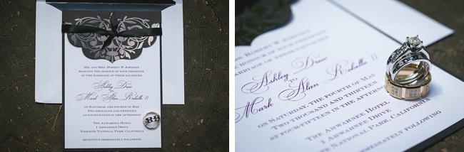 black damask wedding invitations and rings
