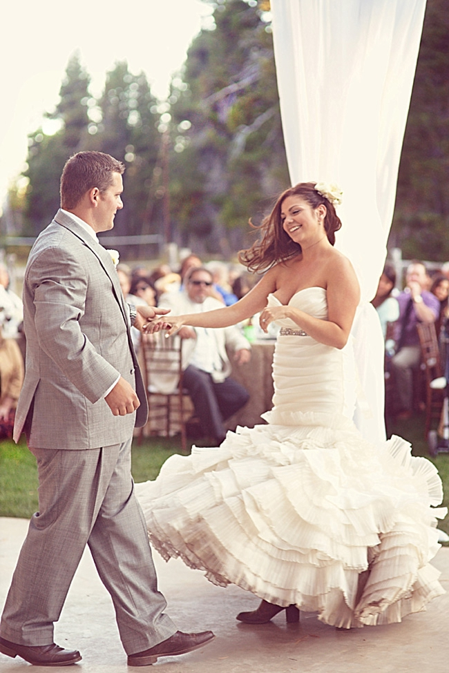 bride and groom swing dancing