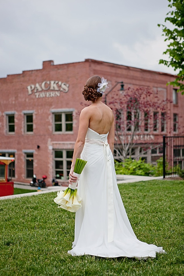 Bride looks at Pack Tavern Venue Western North Carolina