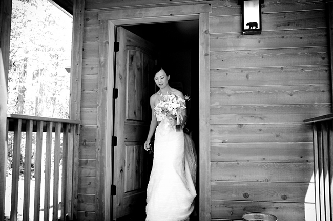 Bride exits her cabin