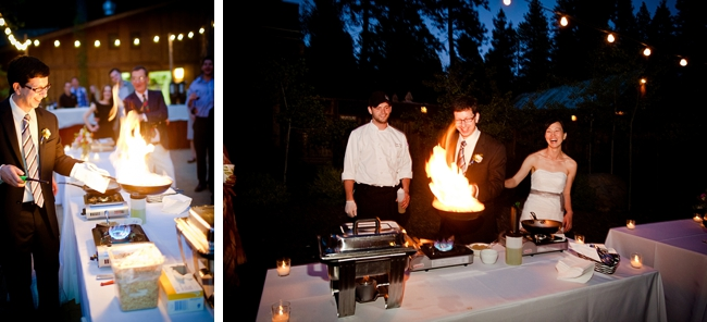 Groom makes Flambe for wedding guests