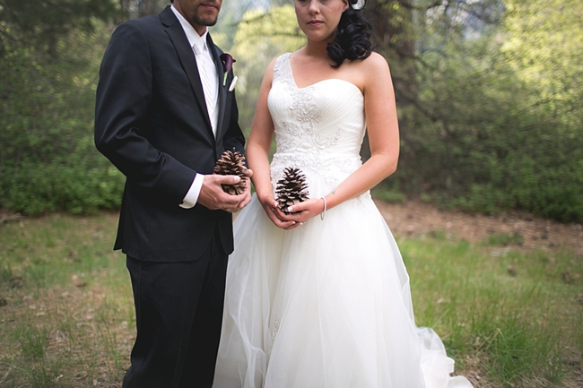 Yosemite bride and groom hold pinecones