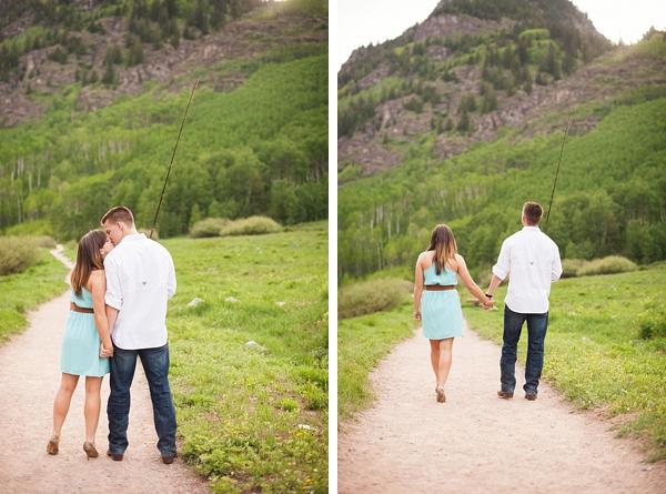 aspen engagement couple walking down a road