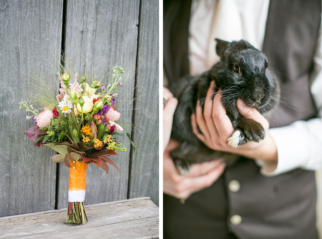 pretty wild flower inspired bouquet and black bunny