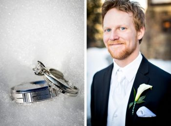 wedding rings in snow with groom