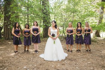 Yosemite wedding party in purple dresses
