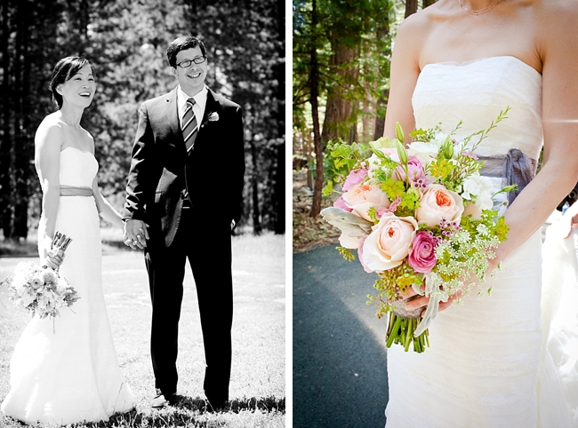 bride holds peach and pink rustic elegant rose bouquet