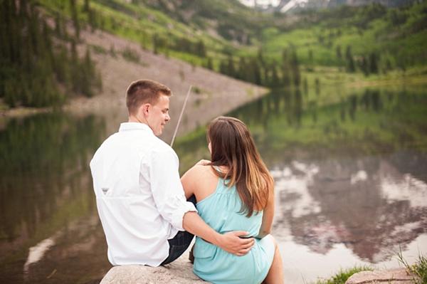 aspen engagement couple fishing