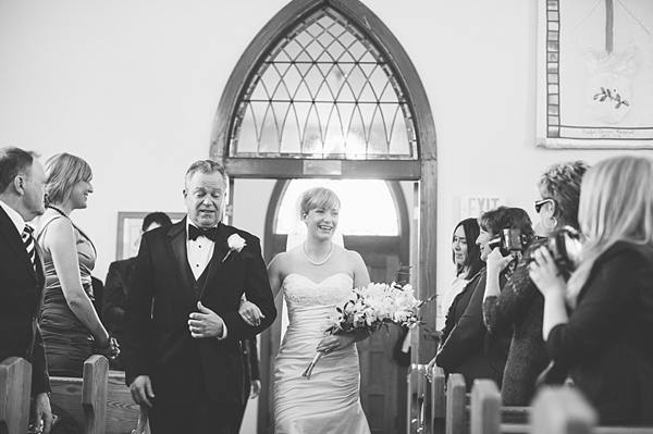 church ceremony in Banff father walks bride down aisle