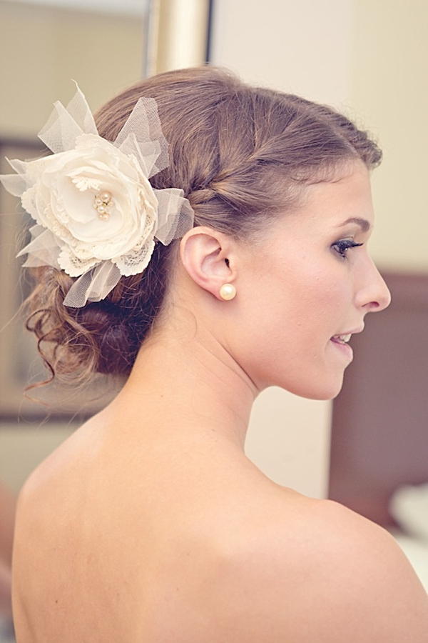 Western North Carolina bride with fabric and tulle hair flower