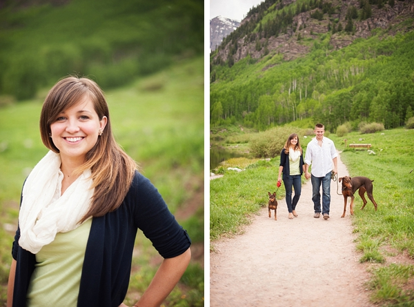 aspen engagement couple walking the dogs
