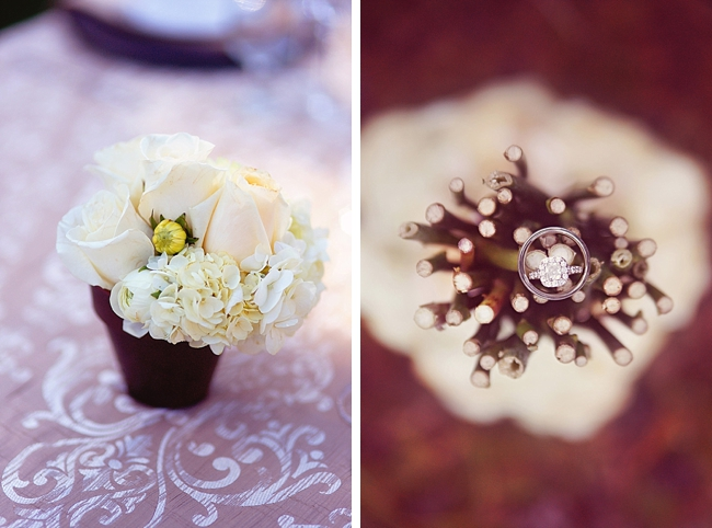 wedding rings and potted flower centerpieces