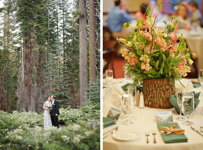 rustic centerpiece and bridal portrail sequoia national park wedding