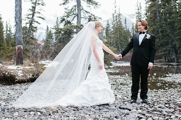mountain bride and groom in forest