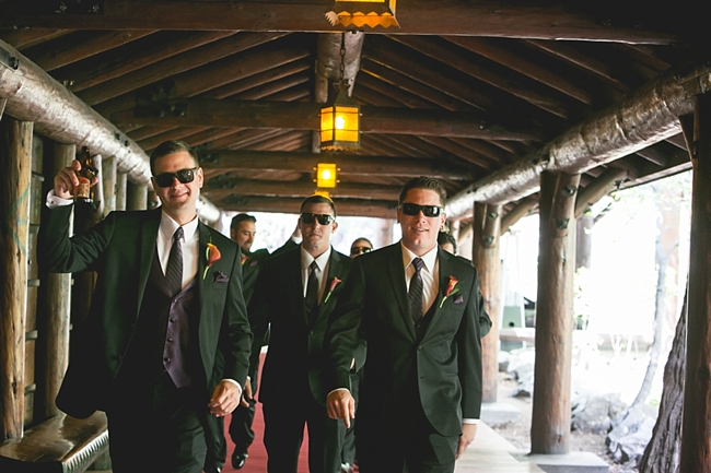 Yosemite groomsmen with orange boutonnières