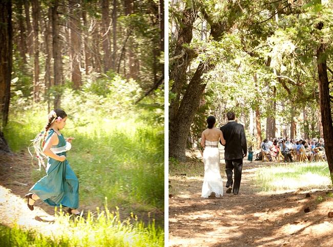 Bride walks down meadow asile in Yosemite National Park