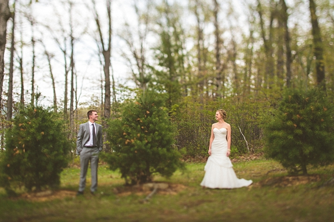 West Virginia bride and groom in the woods