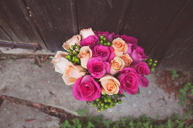 valle crucis elopement pink and peach rose bouquet