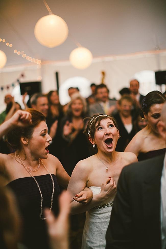 happy bride dancing