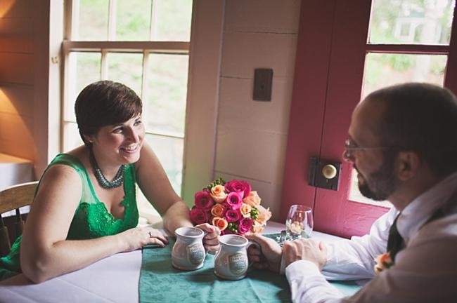 valle crucis elopement couple takes tea