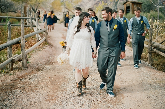 rustic wedding day parade photo by Gaby J Photography