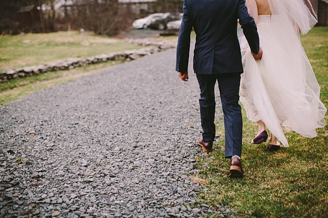 NY bride and groom walking away