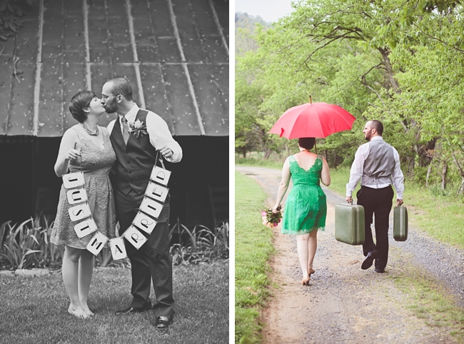 valle crucis elopement couple with just married sign and walking in the rain