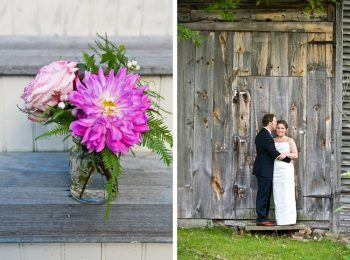 flowers in mason jar | New Hampshire Mountain Wedding