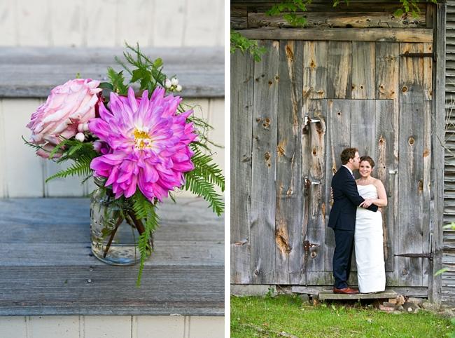 flowers in mason jar | New Hampshire Mountain Wedding