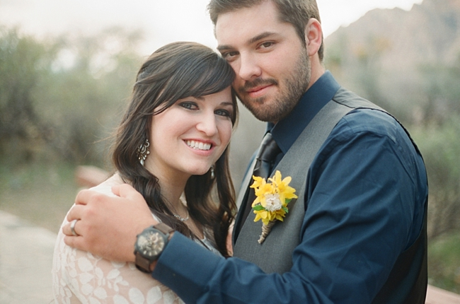 bride and groom smile photo by Gaby J Photography