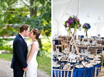 wedding reception with navy details | New Hampshire Mountain Wedding