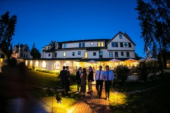 venue at night | New Hampshire Mountain Wedding
