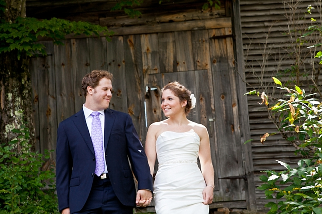 couple in front of barn New Hampshire Mountain Wedding