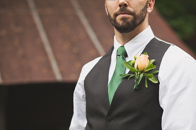 valle crucis elopement green tie and pale yellow boutonniere
