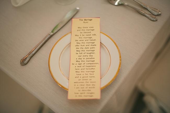 menu on gold lines dinner plate