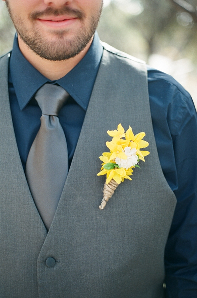 navy groom's shirt with yellow bout by Gaby J Photography